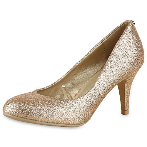 Klassische Damen Pumps Strass Glitzer Party Metallic Stilettos Hochzeit Abiball Abendschuhe Gold Schimmern