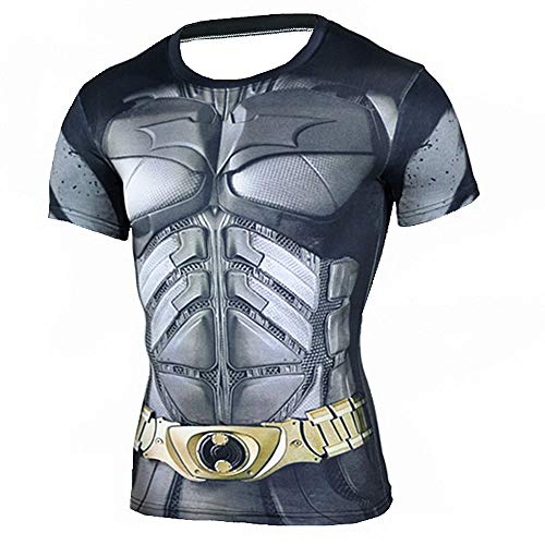 HOOLAZA Batman The Dark Knight Männer Kurzarm Kompression Herren T Shirt Fitness Sport Gym Compression Avengers Short Shirt Herren Gym Beim Training T-Shirt S