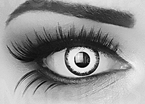Farbige Kontaktlinsen 1 Paar weisse schwarze Lunatic Vampir mit schwarzem Rand 1 Paar. Topqualität zu Halloween, Fasching, Fastnacht, Karneval Halloween gratis Kontaktlinsenbehälter ohne Stärke! (Farbige Weiße Kontaktlinsen)