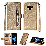 Coque Samsung Galaxy Note 9, Housse en Cuir LaVibe PU Leather Etui Portefeuille à Rabat Glitter Clapet Support Fermeture éclair Porte Video Stand, Flip Wallet Protective Case Cover–Or