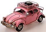 Auto aus Metall rosa 26 cm mit Rahmen und Spardose PKW Oldtimer Nostalgie Käfer