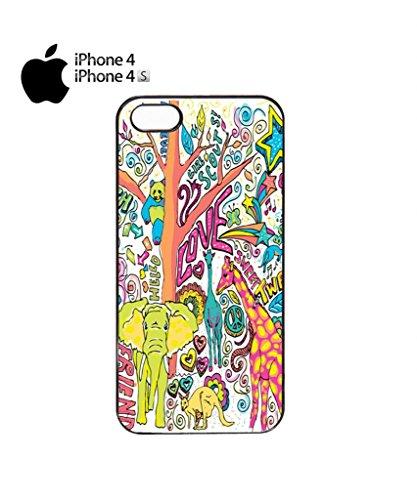 Happy Animals Elephant Giraffe Mobile Cell Phone Case Cover iPhone 5c Black Noir