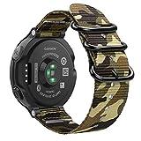Fintie Armband für Garmin Forerunner 235/220 / 230/620 / 630 / 735XT Smart Watch - Nylon Uhrenarmband Sport Armband verstellbares Ersatzband mit Edelstahlschnallen (Camouflage Grün)