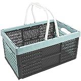 com-four® Klappbox mit Henkeln, in Pastell-türkis, klappbarer Einkaufskorb, 16 Liter, 40 x 26 x 20 cm (01 Stück - Pastell-türkis)