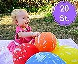 20 Bunte Luftballons Für Den Kindergeburtstag Mit Der Zahl / Jahr 1 | Für Den 1. Geburtstag (Junge und Mädchen) | Latexluftballon mit Nummer auch für Jahrestag | Heliumgeeignet | 100 % Natur Latex