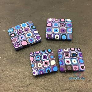 Knöpfe 2Stk Violett Quadratisch Nähen 20mm oder 25mm Modern Knopf Handmade Efimoni