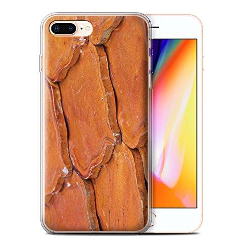 Stuff4 Gel TPU Hülle / Case für Apple iPhone 8 Plus / Muscheln Muster / Stein/Rock Kollektion Slate/Fliesen/Orange