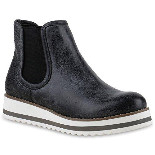 Damen Stiefeletten Chelsea Boots Plateau Strick Zipper Glitzer Booties Lack Plateau Wedges Schuhe 131389 Schwarz Schwarz 36 Flandell