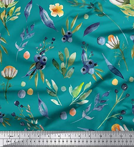 Soimoi Grun Baumwolljersey Stoff Blaubeeren & Blatter gedruckt Craft Fabric 1 Meter 58 Zoll breit
