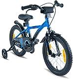 Prometheus Kinderfahrrad 16 Zoll Jungen Mädchen Blau Schwarz ab 5 Jahre mit Stützräder und Rücktritt - 16zoll BMX Modell 2019