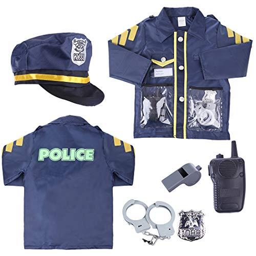 LVPY Polizist Rollenspiel, 6 Stück Polizei Einsatzkommando Set mit Zubehör für Kinder Jungs und - Rollenspiel Kostüm Für Jungs