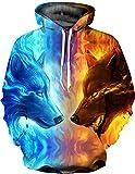 KamiraCoco Herren Kapuzenpullover 3D Druck Muster Hoodie Weihnachten Halloween Sweatshirt Pullover (L / XL, Flamme Wolf)