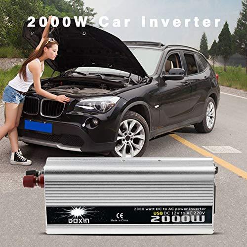 2000W DC al convertidor de Corriente alterna DC 12V a 110V / 220V AC inversor Auto Transformador automático con Ventilador de refrigeración Adaptador de Coche USB