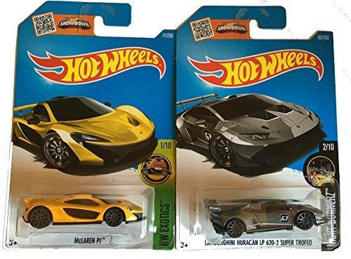 Hot Wheels 2016 McLaren P1 Yellow & Lamborghini Huracan LP 620-2 Super Trefeo 2-Car Bundle Set