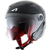 Astone Helmets fibra, Casco Jet, color Gloss Negro, talla XXXL