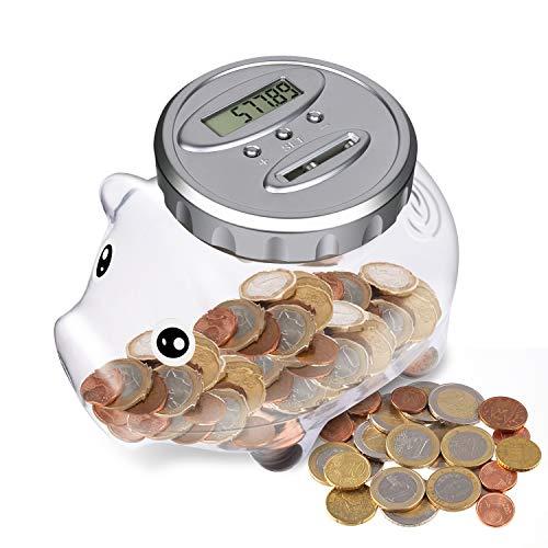 Spardose Mit Zähler,Automatischer Münzzähler Sparbüchse, Sparschwein Kinder alle EU Münzen LCD Display Money Saving Jar with Large Capacity, Piggy Bank für Weihnachten, Neujahr, Geburtstag