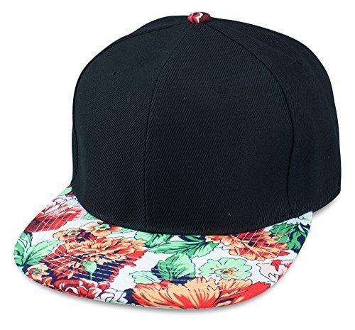 Sense42 Schwarze Snapback Cap | mit Schirm im Floral Design | Weiß Orange Grün | Flat Cap Bill | Unisex | Hip Hop Kappe | Schirmmütze | Blumen | One Size | in verschiedenen Farben (Floral Cap)