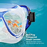Snorkel Set, OMorc Premium Adult Snorkel Set with 100% Waterproof Tempered Glass Scuba Mask and Dry Snorkel, Food-Grade Silicone Skirt and Mouthpiece for Men and Women – Blue