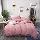 LYDM Volltonfarbe Gewaschene Baumwolle Bettbezüge Single Doppel Bettbezug Kissenbezug 3-teiliges Set Bettwäsche Gesäumte Spitze Weiß Grau Bett Garnitur Atmungsaktiv 150 X 200