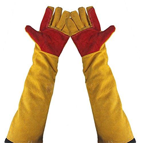 60Cm Schweißer-Handschuhe, Schweißer-Stulpen Stulpen-Kamin-Handschuhe Hohe Temperatur BBQ-Ofen Lange Gefütterte Schweißer-Handschuh-Feuer-Sicherheits-Handschuh-Arbeitshandschuhe Hitzebeständig,1Pair (Kamin Handschuhe Lang)