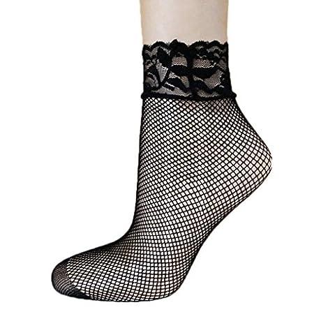 LUFA 1 Pair Elastic Lace Flowers Ankle Short Socks Netting Hollow Out Fishnet Socks