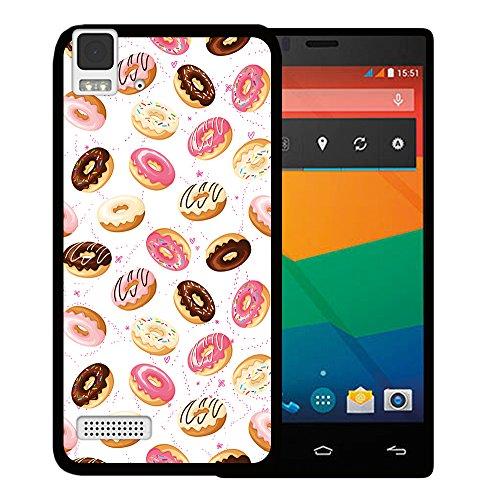 WoowCase Bq Aquaris E4 Hülle, Handyhülle Silikon für [ Bq Aquaris E4 ] Donuts Handytasche Handy Cover Case Schutzhülle Flexible TPU - Schwarz