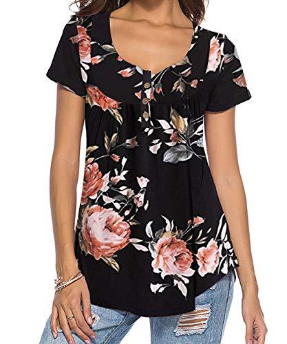 DEMO SHOW Damen Tunika Top Locker Langarm V Ausschnitt Knopfleiste Plissiert Floral Henley Shirt Bluse T Shirt (Schwarz 01, 2XL)