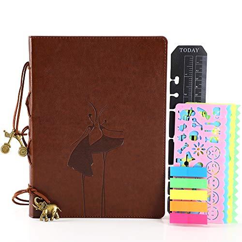 Vintage Leder Organizer Ringbuch din A5 Dotted Bullet Journal mit Tasche Notizbuch Reisetagebuch Tagebuch Hardcover Nachfüllbar Gebunden Dot Punktraster Geschenk für Frauen Damen Kinder Mädchen Braun (Es Ist Ein Mädchen-tinte-kugelschreiber)