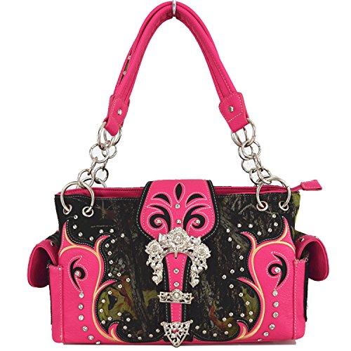 Blancho Biancheria da letto delle donne [antica foresta] PU Leather Bag Set Elegante Portafoglio Hanbag Comobo Fashion Bag rosa Combo-Rosa