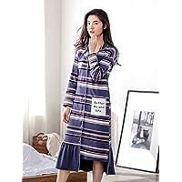 YAN Camisón Pijama de Las Mujeres Camisón de Verano Falda de Algodón Irregular Falda Camisa Suelta Vestido para Gimnasio Ducha SPA Hotel Robe Vacaciones (Color : 1, Tamaño : SG)