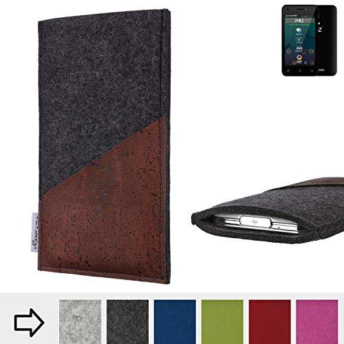 flat.design Handy Hülle Evora für Allview P42 handgefertigte Handytasche Kork Filz Tasche Case fair dunkelgrau