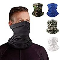 Neck Gaiter Headband Tube Bandana Elastic Scarf Sunscreen Balaclava Wicking Face Mask Dust Sun UV Protection Fishing Hiking Motorcycle Cooling Helmet Liner Men Women Set of 4