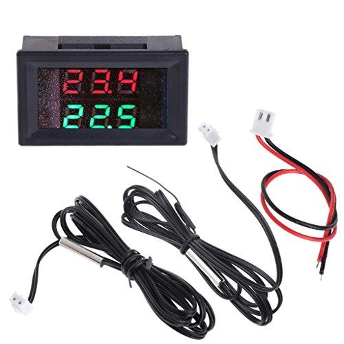 Hergon Auto Thermometer,DC 4-28V Temperaturmesser Dual Digital Display Thermometer, 2 Stück Wasserdicht NTC Temperatursensor Sonde Hohe Präzision, Messung Temp Detektor Lehre