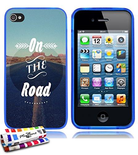 Ultraflache weiche Schutzhülle APPLE IPHONE 4 / IPHONE 4S [On the Road] [Lila] von MUZZANO + STIFT und MICROFASERTUCH MUZZANO® GRATIS - Das ULTIMATIVE, ELEGANTE UND LANGLEBIGE Schutz-Case für Ihr APPL Blau