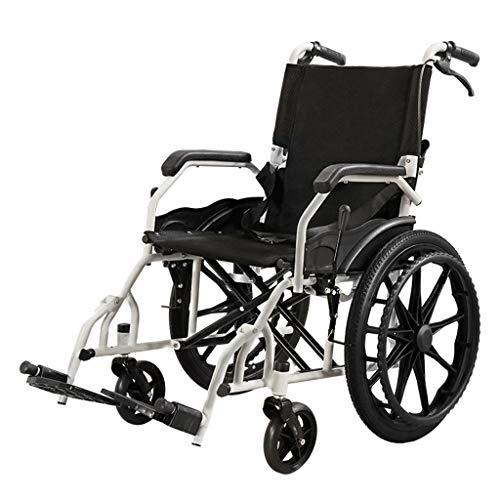 Bestting Manueller Rollstuhl, verstärkte Faltung Vollgummireifen Handbremse Ultraleichter tragbarer Reiserollstuhl aus Kohlenstoffstahl