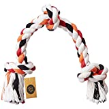 The Dogs Company Cotton Rope Bone Dog Chew Toy 3 Knots, 14 Inches, Colour May Vary