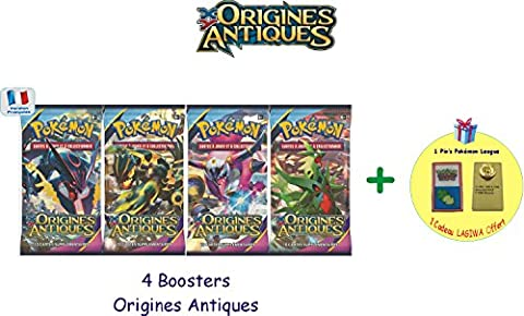 Offre Lagiwa - Lot de 4 booster pokemon XY Origines Antiques avec 1 pin's pokemon offert