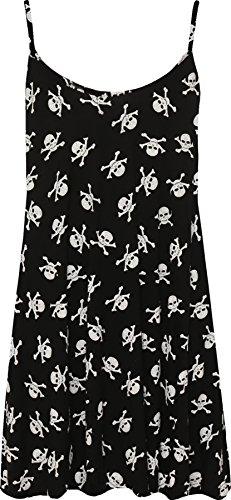 Hex Mini (WearAll - Übergröße Bedruckt Ärmellos Riemchen Mini Kleid Vest Top - Schädelknochen - 52-54)
