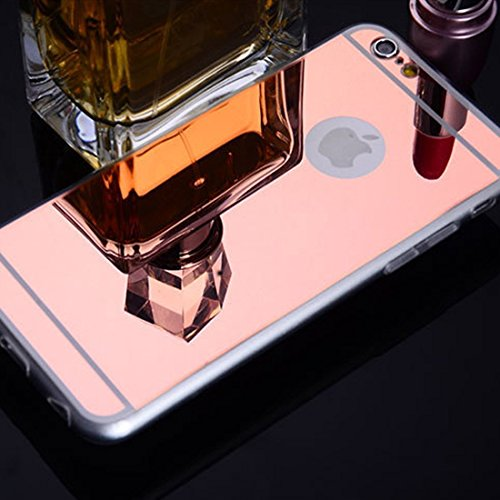 Coque iPhone 7 Plus Miroir, iPhone 7 Plus Coque Brillante, SainCat Ultra Slim TPU Silicone Case pour iPhone 7 Plus, Bling Bling Glitter Strass Diamant Anti-Scratch Soft Gel Silicone 3D Transparent Sil Or Rose ##