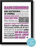 HAUSORDNUNG - Bild mit humorvollen Hausregeln - Rahmen optional - Wandbild für Zuhause - Geschenkidee Einzug Umzug Einweihung Richtfest