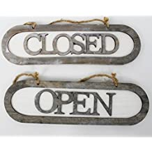Schild aus Holz OPEN CLOSED - beidseitiges Wendeschild - 31 x 9 x 1,5 cm