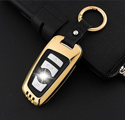 YUWATON Auto-Schutzhülle für Auto-Schlüsselanhänger für BMW 1Serie 2Serie 3Serie 525li 320li Auto Fernbedienung Gehäuse Autoschlüssel Dekoration, gold