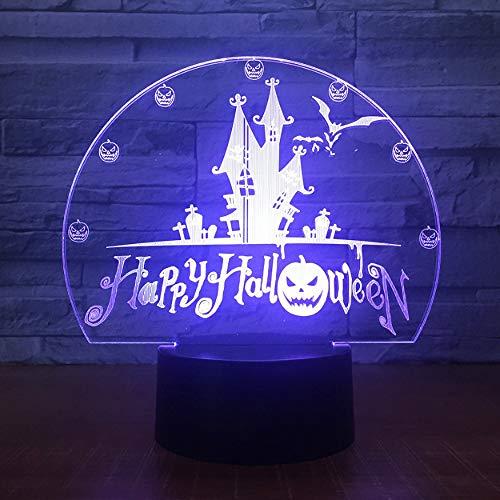 Halloween Geschenk 7 Farbe Usb Vision Schloss Bat Nachtlicht Tischlampe 3D Led Dekoration Urlaub Dekoration Licht ()