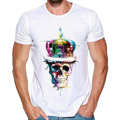 Feixiang camicia uomo magliette maniche corta estiva moda t-shirt con teschi della moda maglietta girocollo camicie bianca slim fit pullover tops