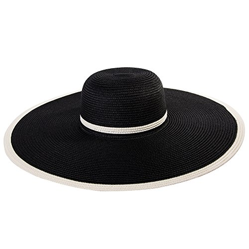 656315cc140 SiggiHat Ladies Summer Sun Hats Women Panama Straw Beach Hats Foldable Wide  Brim Floppy Fedora ...