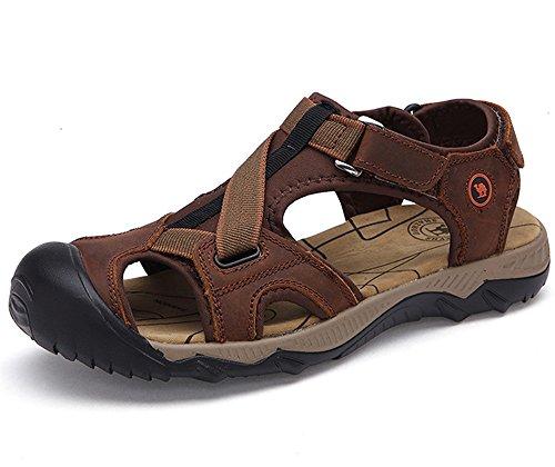Dayiss Herren Jungen Leder Sandalen Sandaletten Sport- & Outdoor Schuhe Strandschuhe Freizeitschuhe Dunkelbraun
