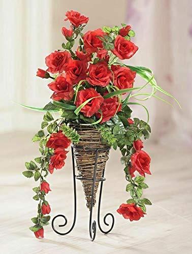 GKA schönes Rosenbouquet mit Rattan Vase inkl. Metallständer XL Rose Rosen Rosengesteck 50 cm Kunstblume