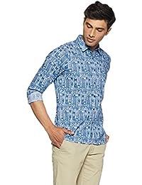 Pepe Jeans Men's Geometric Print Slim Fit Casual Shirt