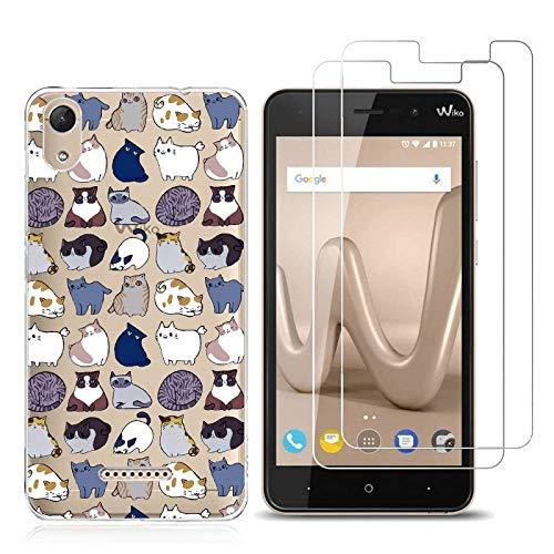 Wiko lenny 4 plus custodia vari modelli soft trasparente tpu silicone protective cellulari cover per wiko lenny 4 plus con (2 pack) protettiva vetro temperato pellicola schermo