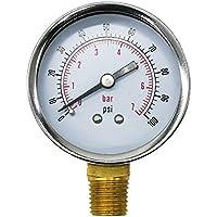 Uharbour - Medidor de presión de doble escala, pantalla de 5 cm, montaje inferior 1/4 NPT, 100 psi / bar, tanto para presión de gas y agua
